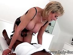 Lady Sonia black guy massage...
