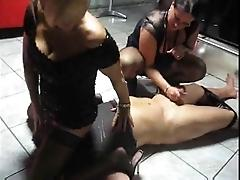 Two milfs play with one lucky guy