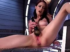 Tiny Girl Takes Big Machine Cocks