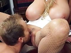 Office sex for the buxom blonde