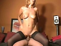 Blonde milf on couch
