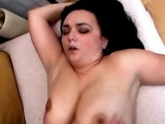 Busty hairy MILF sucking and...