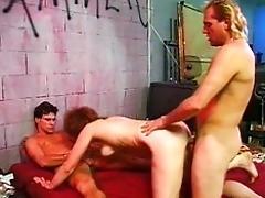 Sucking and fucking threesome