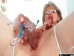 Filthy old woman wild getting off