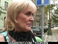 Old granny prostitute rides big...