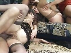Two matures and three dicks