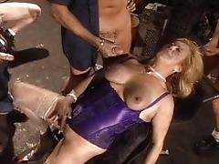 Platinum-blonde mature gang-fuck...