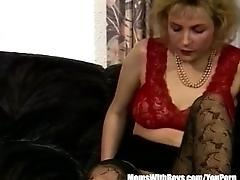 Blonde MILF Sexy Stockings Fucks...