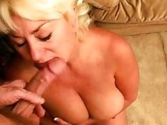 Blonde dickblowing mature whore