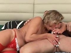 Lustful granny fellates stiffy...