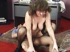 Mature ladyboss sucking employee