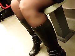 Cougar In Black Pantyhose