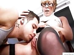 Horny granny tempts student