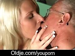 Shy grandpa gets his old cock...