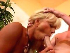 Blonde Gets Her Gullet Pumped...