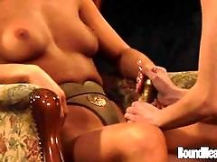 Mistress With Golden Strapon And...