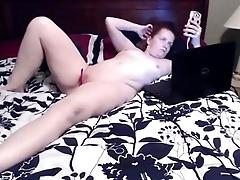 Redhead with toy alone
