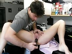 Kitchen sex, I squirt twice he...
